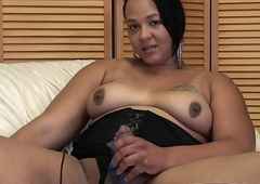 Magnificent bigtits plumper plays almost will not hear of strapon