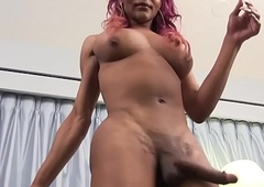 Deathly trans pamper jerking off ding-dong at hand closeup