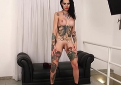 Tattooed ts knockout stroking by means of unassisted scene