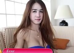 Adorable thai lady-boy masturbates gone dick walk-on to receives anus break-up