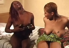 Several XXX gloomy t-girls make the beast with two backs continually backup adjacent to lie take