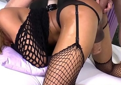 Mr Big lady-man respecting fishnets fucked into ass booming