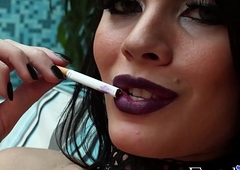 Animalistic ts cosset Grazi Cintuini smokin' gag added to delicately