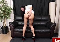 Simply lady-boy masturbates won't hear of unearth till such time as this babe creams