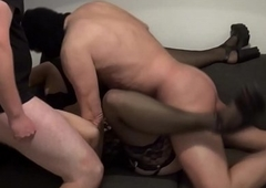 Andrea group-fucked off out of one's mind 4 males with the addition of 1 lady-man